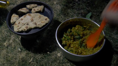 Trangia Cooking on the trail, Spinach and coconut dahl