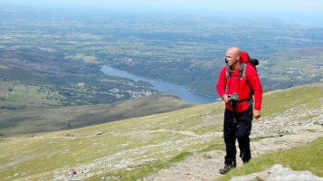Nath on his way up Mount Snowdon, the first of the Three Peaks