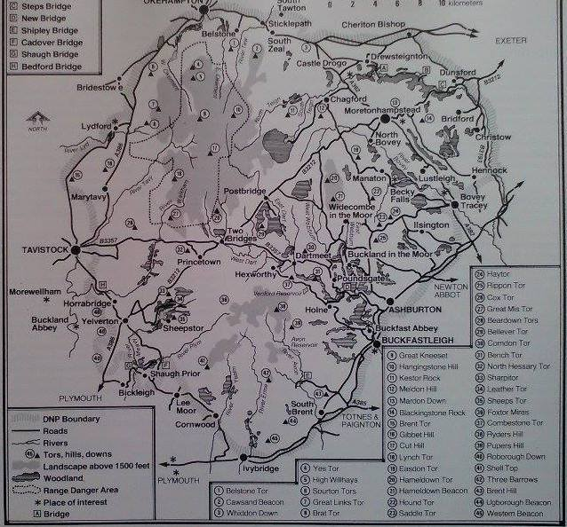 Dartmoor Map with Tors