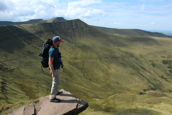 Pen Y Fan ledge, with Crybyn and Pen Y Fan in the background
