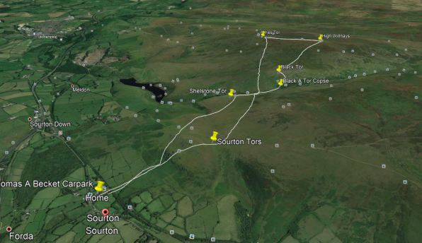 Dartmoor Walks, google earth image, satellite image