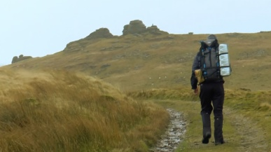 Summit or Nothing's Nath approaching Great Links Tor on Dartmoor