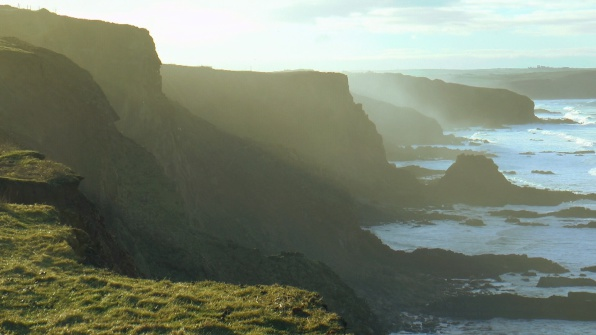 sea mist over the cliffs of Bude and Widemouth - walking the south west coastal path