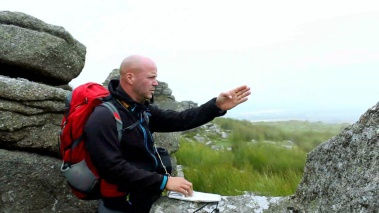 Belstone Tor in the mist map reading Dartmoor