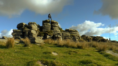 Trev from Summit or Nothing on the Summit of Ger Tor on Dartmoor